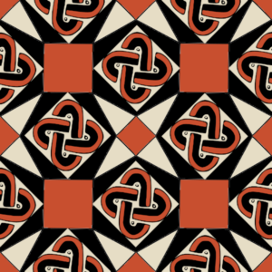Tricolor pattern of hexagons, squares and Solomon knots