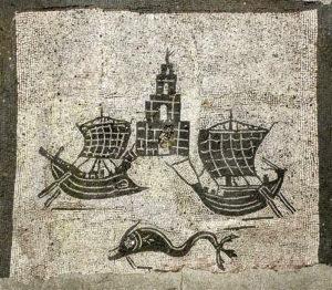 Roman ships mosaic- Ostia Antica, 1st century BC with unemployed lighthouse guardian.