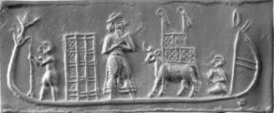 imprint of a cylinder seal of mesopotamian cargo ship with unemployed slaves aboard