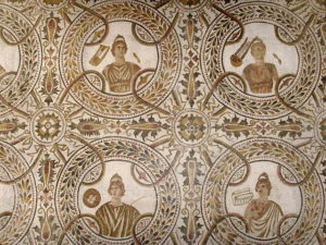 Muses mosaic , 4 of the 9 muses, El Djem, Tunisia