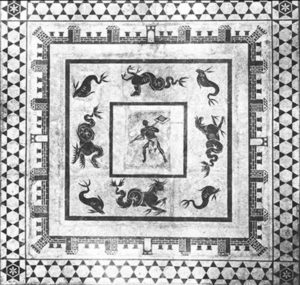 Black and white mosaic at the bottom of the impluvium of the bath of Julia Felix, now at the Naples museum