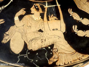 Greek vase painting of a muse holding a Cithara