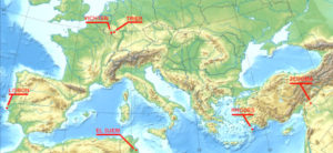 Location of several complete muses mosaics of the Roman Empire