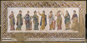 muses mosaic from the Villa Romana de Torre de Palma, POrtugal, displayed in Lisbon