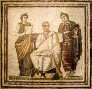 Roman mosaic of the poet Virgil with the muses Clio and Melpomene