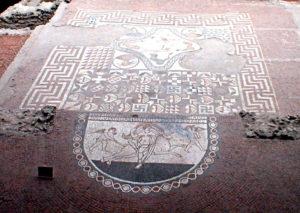 The Triclinium mosaic of the Lullungstone Roman Villa in Kent.