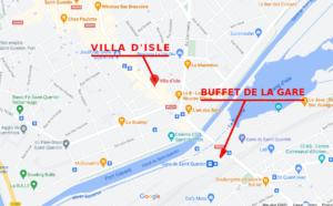Map showing the BUffet de la Gqare and Villa D'isle restaurant