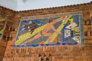 Art deco mosaic, Post office of Saint Quentin, Aisne, France.