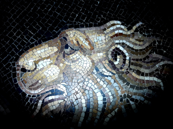 Lion Head of the Chimera slayed by Bellerophon, Roman mosaic, Rolin Museum, Autun